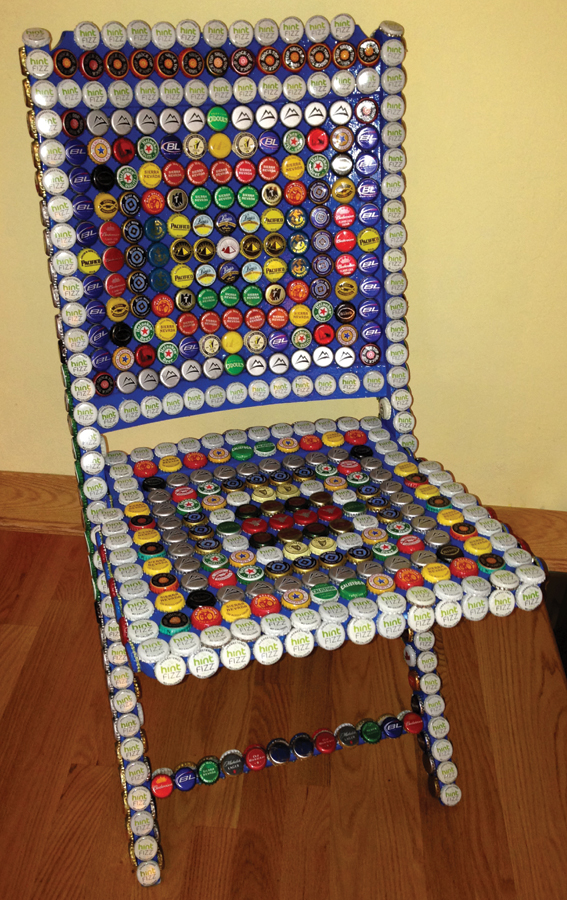 A Chair Covered in Bottle Caps